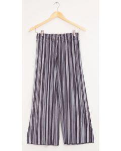 Stripe Wide Leg Pleated Trousers - Black Grey