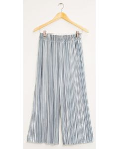 Stripe Wide Leg Pleated Trousers - Ice Blue