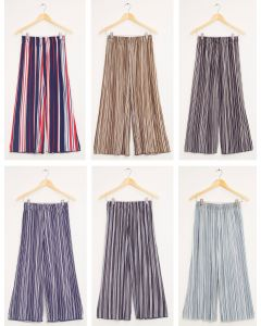 Stripe Wide Leg Pleated Trousers - Assorted