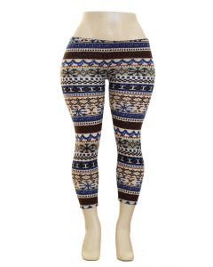 Plus. Hacci Striped Leggings - Blue