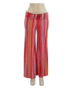 Southwestern Print Palazzo Pants - Red - LAST FINAL SALE
