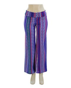 Southwestern Print Palazzo Pants - Royal Blue - LAST FINAL SALE