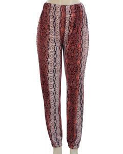 Ornate Print Joggers - Rust