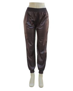 Faux Leather Joggers - Brown