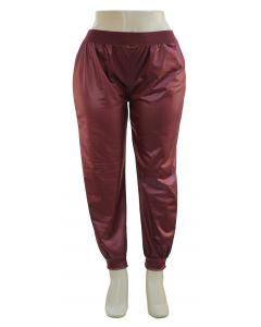 Plus. Faux Leather Joggers - Wine