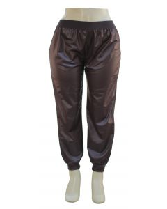 Plus. Faux Leather Joggers - Brown