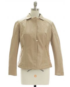 Open Lapel Faux Leather Jacket - Tan