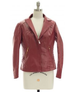 Open Lapel Faux Leather Jacket - Red