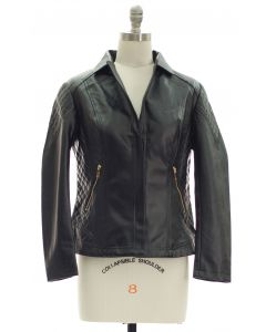 Open Lapel Faux Leather Jacket - Black