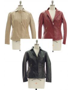 Open Lapel Faux Leather Jacket - Assorted