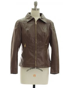 Faux Leather Collar Jacket - Brown