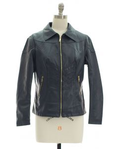 Faux Leather Collar Jacket - Navy
