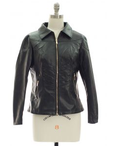 Faux Leather Collar Jacket - Black