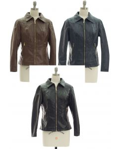 Faux Leather Collar Jacket - Assorted