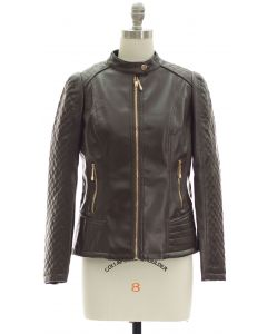 Quilted Sleeve Faux Leather Jacket - Brown