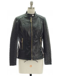 Quilted Sleeve Faux Leather Jacket - Black