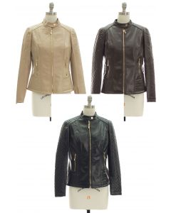 Quilted Sleeve Faux Leather Jacket - Assorted