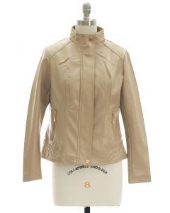 Mandarin Collar Faux Leather Jacket - Tan