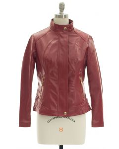 Mandarin Collar Faux Leather Jacket - Red