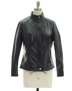 Mandarin Collar Faux Leather Jacket - Black
