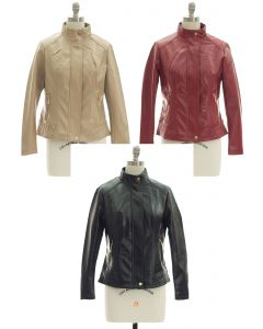 Mandarin Collar Faux Leather Jacket - Assorted