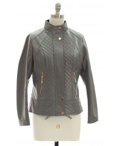 Mandarin Collar Quilted Jacket - Charcoal