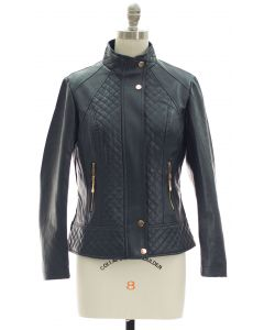 Mandarin Collar Quilted Jacket - Navy