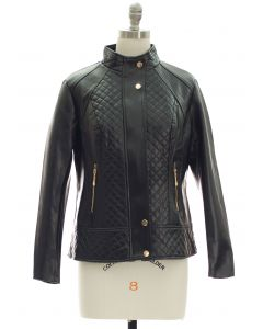 Mandarin Collar Quilted Jacket - Black