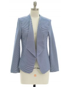 Open Front Stripe Blazer - Blue