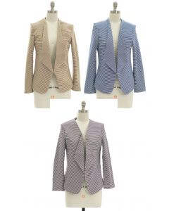 Open Front Stripe Blazer - Assorted