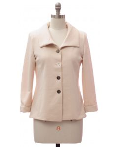 Wide Collar Car Blazer - Cream