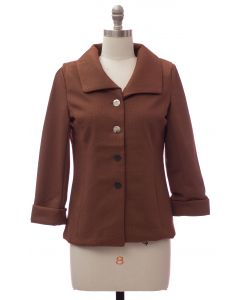 Wide Collar Car Blazer - Brown