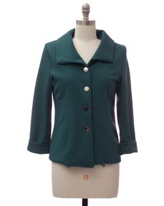 Wide Collar Car Blazer - Hunter Green
