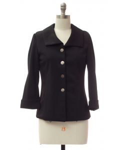 Wide Collar Car Blazer - Black