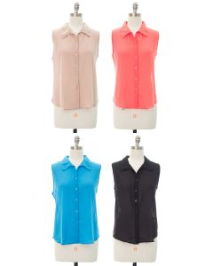 Sleeveless Button Down Blouse - Assorted