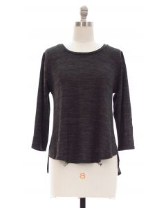 Hacci High Low Crochet Back Top - Black