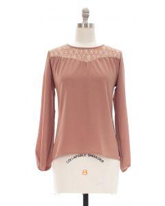 Crochet Shoulder Blouse - Taupe