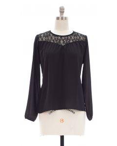 Crochet Shoulder Blouse - Black