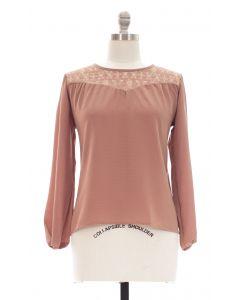 Plus Crochet Shoulder Blouse - Taupe