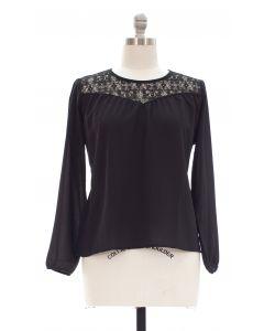 Plus Crochet Shoulder Blouse - Black
