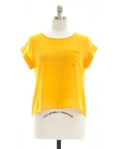 Plus Button Back Blouse - Yellow
