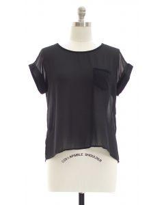 Plus Button Back Blouse - Black
