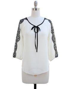 Lace Sleeve Blouse - White - LAST FINAL SALE