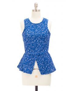 Marled Peplum Top - Blue