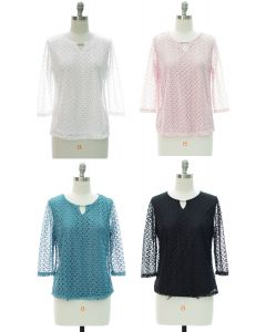 Engineered Lace Shell Blouse - Assorted