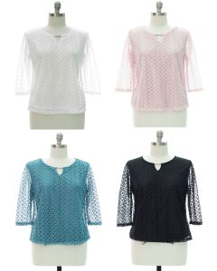 Plus Engineered Lace Shell Blouse - Assorted