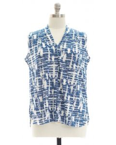 Plus Crosshatch Pleated Top - Blue