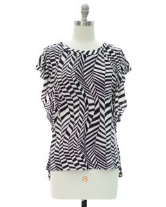 Flutter Sleeve Printed Top - Abstract