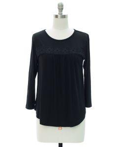 Crochet Stripe Top - Black