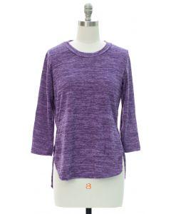 High Low Hacci Top - Purple